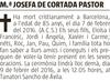 Esquela de Fallecimiento de M.ª JOSEFA DE CORTADA PASTOR