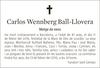Esquela de Fallecimiento de CARLOS WENNBERG BALL-LLOVERA