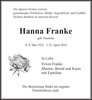 Hanna Franke geb. Erasmus