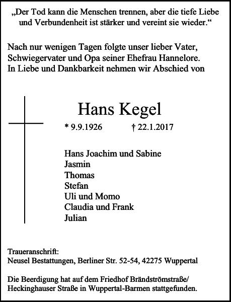Anzeige für Hans Kegel