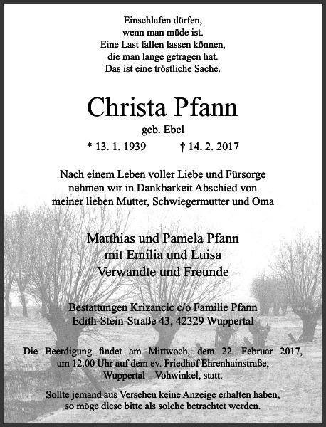 Anzeige für Christa Pfann