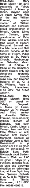 Obituary notice for WILLIAMS. Mary