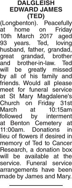 Obituary notice for DALGLEISH EDWARD