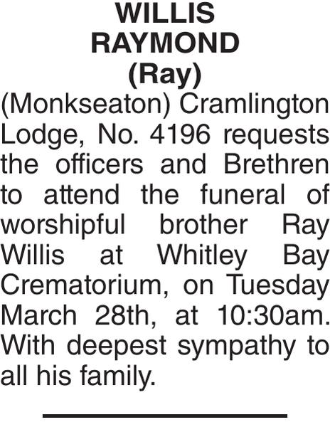 Obituary notice for WILLIS RAYMOND