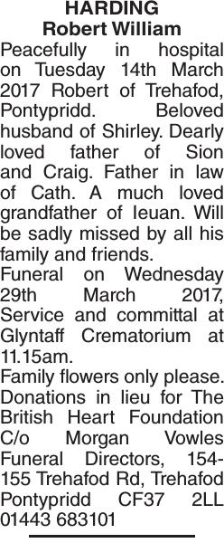 Obituary notice for HARDING Robert