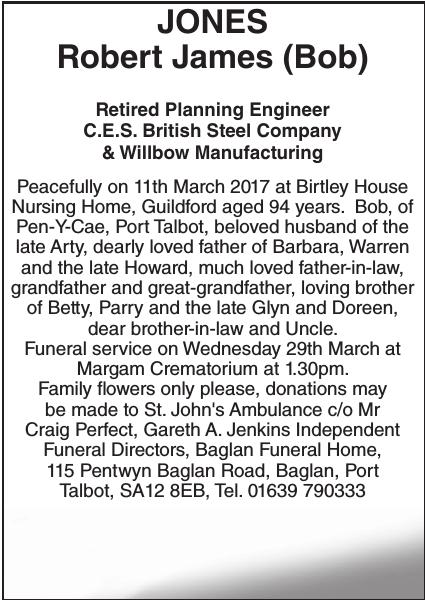 Obituary notice for JONES Robert