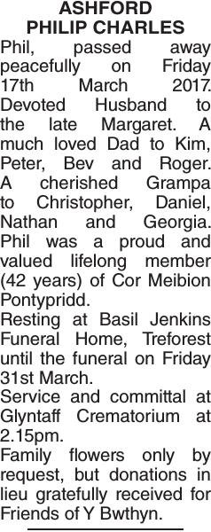 Obituary notice for ASHFORD PHILIP
