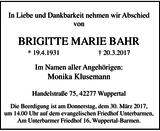 Anzeige für BRIGITTE MARIE BAHR