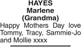 Mother's Day Memorial notice for HAYES Marlene
