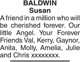 Obituary notice for BALDWIN Susan