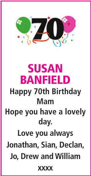 Birthday notice for SUSAN BANFIELD