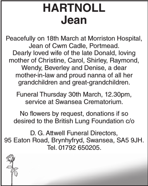 Obituary notice for HARTNOLL Jean