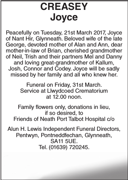 Obituary notice for CREASEY Joyce