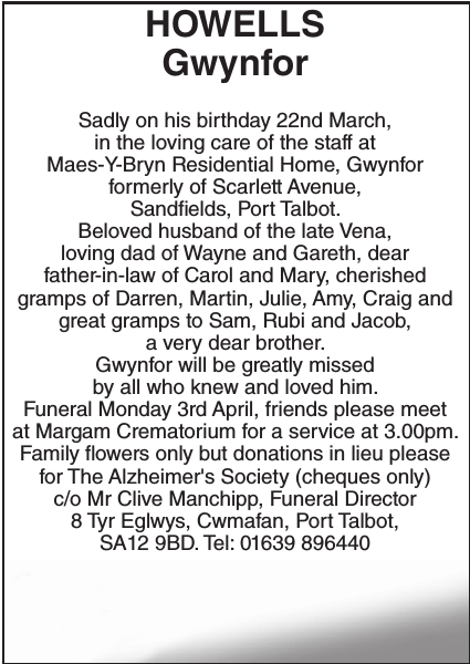 Obituary notice for HOWELLS Gwynfor