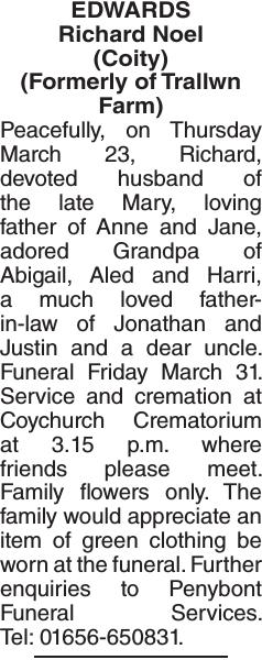 Obituary notice for EDWARDS Richard