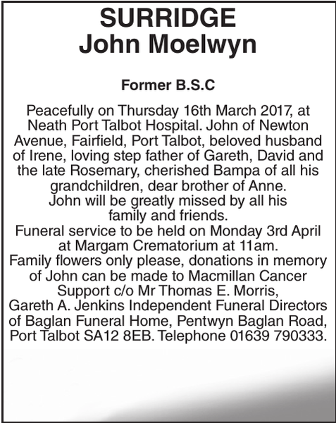 Obituary notice for SURRIDGE John
