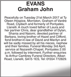 Obituary notice for EVANS Graham