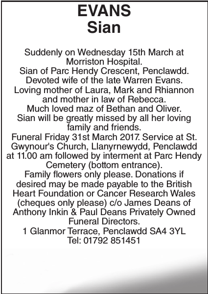 Obituary notice for EVANS Sian
