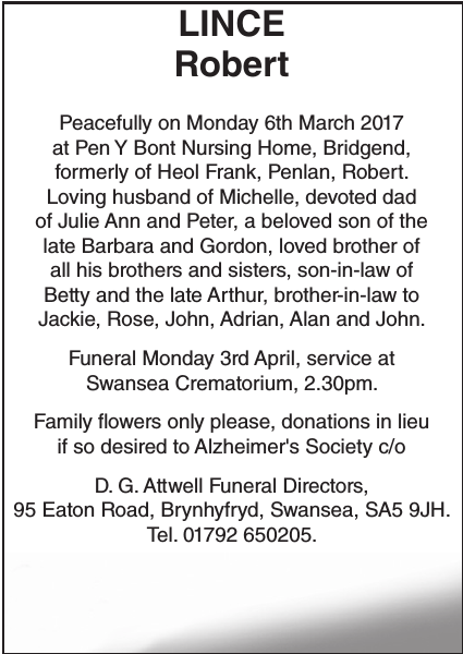 Obituary notice for LINCE Robert