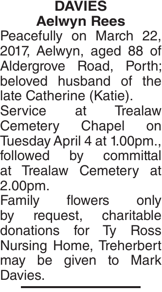 Obituary notice for DAVIES Aelwyn
