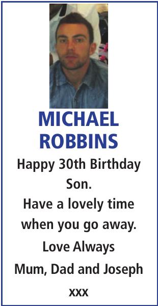 Birthday notice for MICHAEL ROBBINS