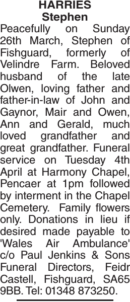 Obituary notice for HARRIES Stephen