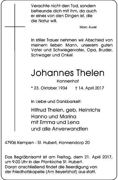 Johannes Thelen : Traueranzeige