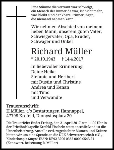 Richard Müller : Traueranzeige