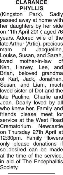 CLARANCE PHYLLIS : Obituary