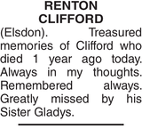 RENTON CLIFFORD : Memorial