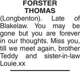 FORSTER THOMAS : Memorial