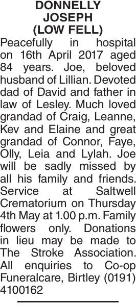 Obituary notice for DONNELLY JOSEPH