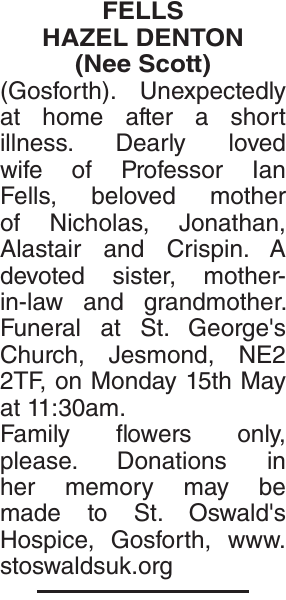 FELLS HAZEL : Obituary