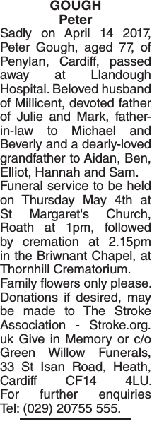 Obituary notice for GOUGH Peter