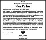 Anzeige für Hans Kothen
