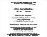 Claus Winkelsträter : Traueranzeige