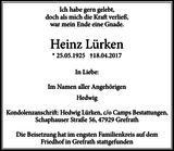 Heinz Lürken : Traueranzeige