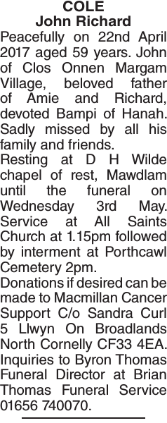Obituary notice for COLE John